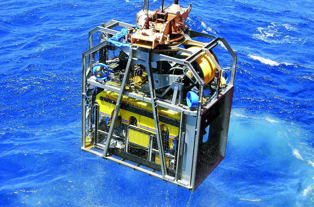 Stainless steel ROV Garage being launched