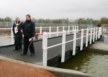 The Mayor of Halton, Councillor Frank Fraser, opened the Carter House Swing Bridge