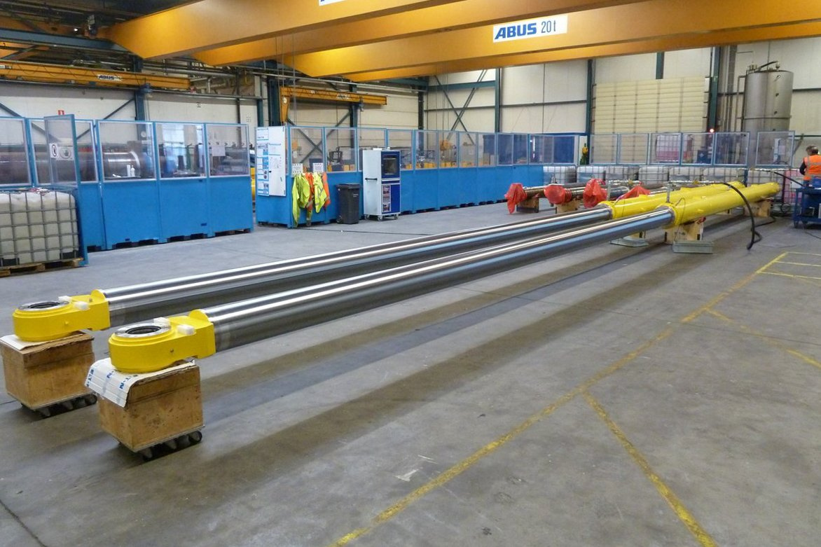 Hydraulic cylinders being factory tested