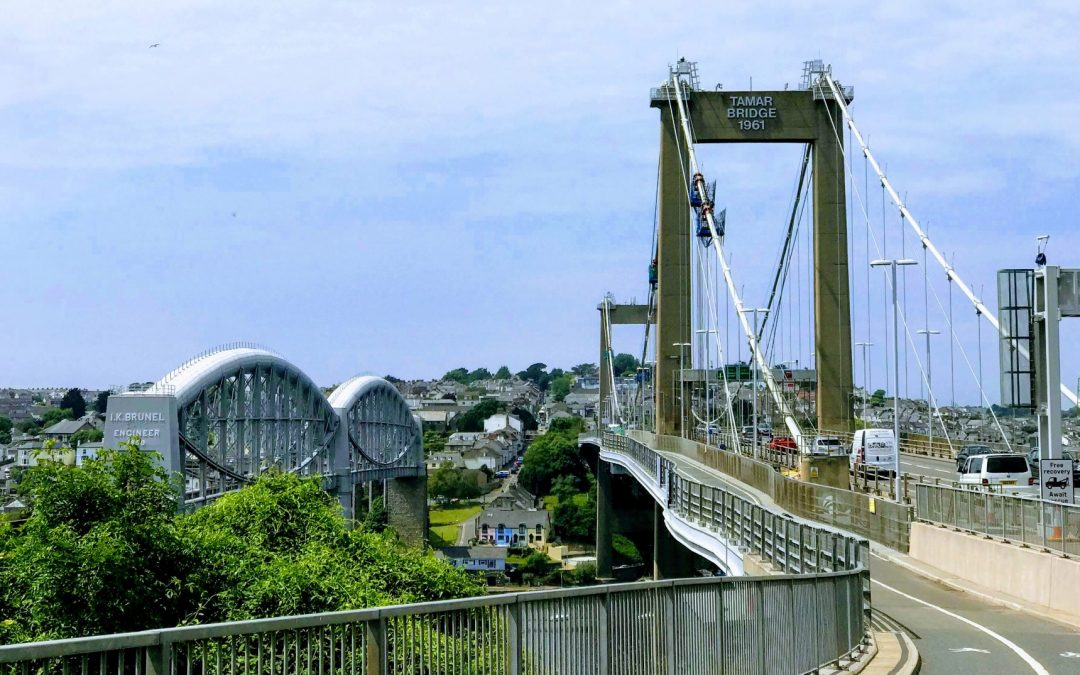 Tamar bridge with temporary platforms installed