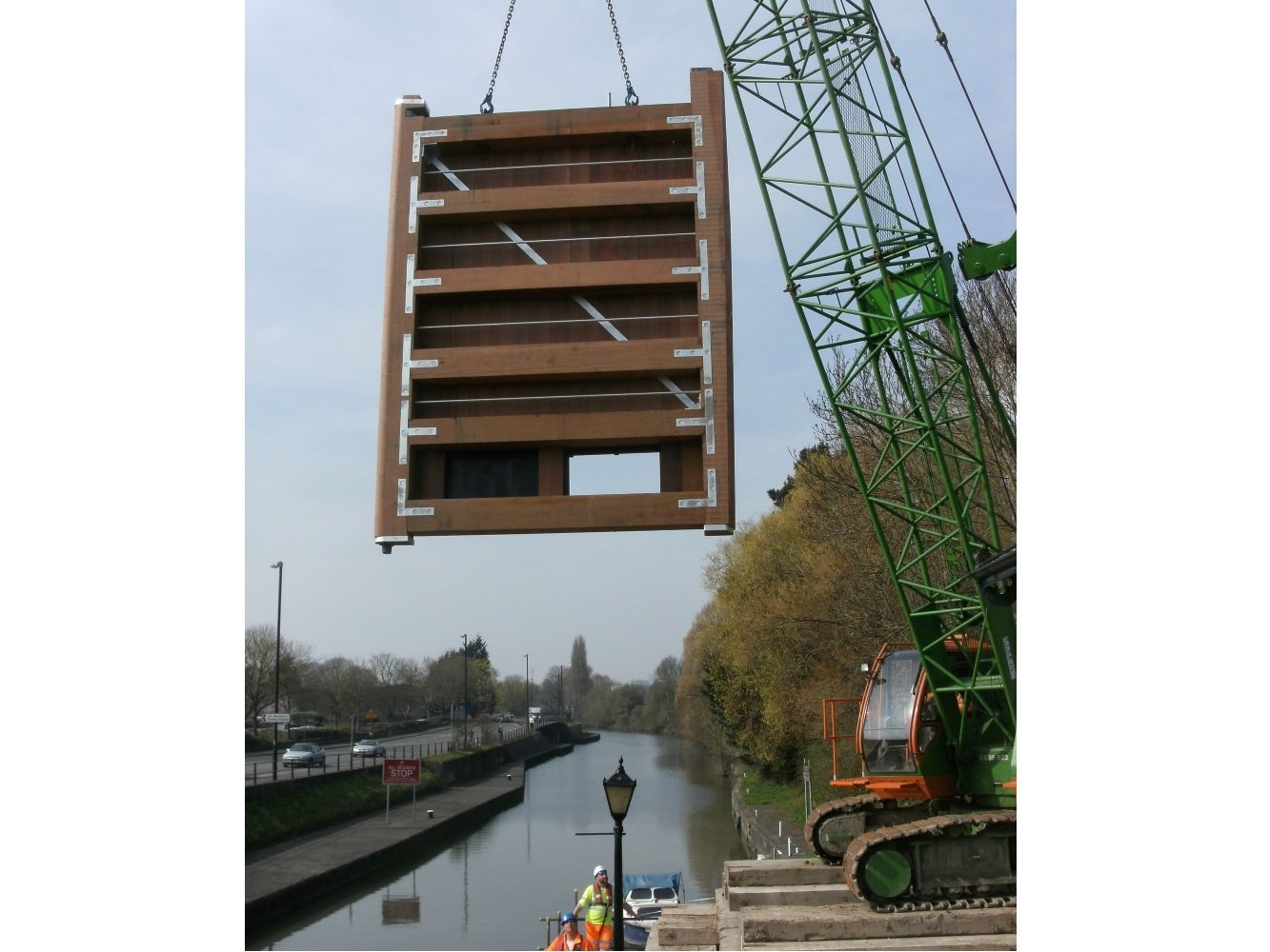 Timber lock gate installation