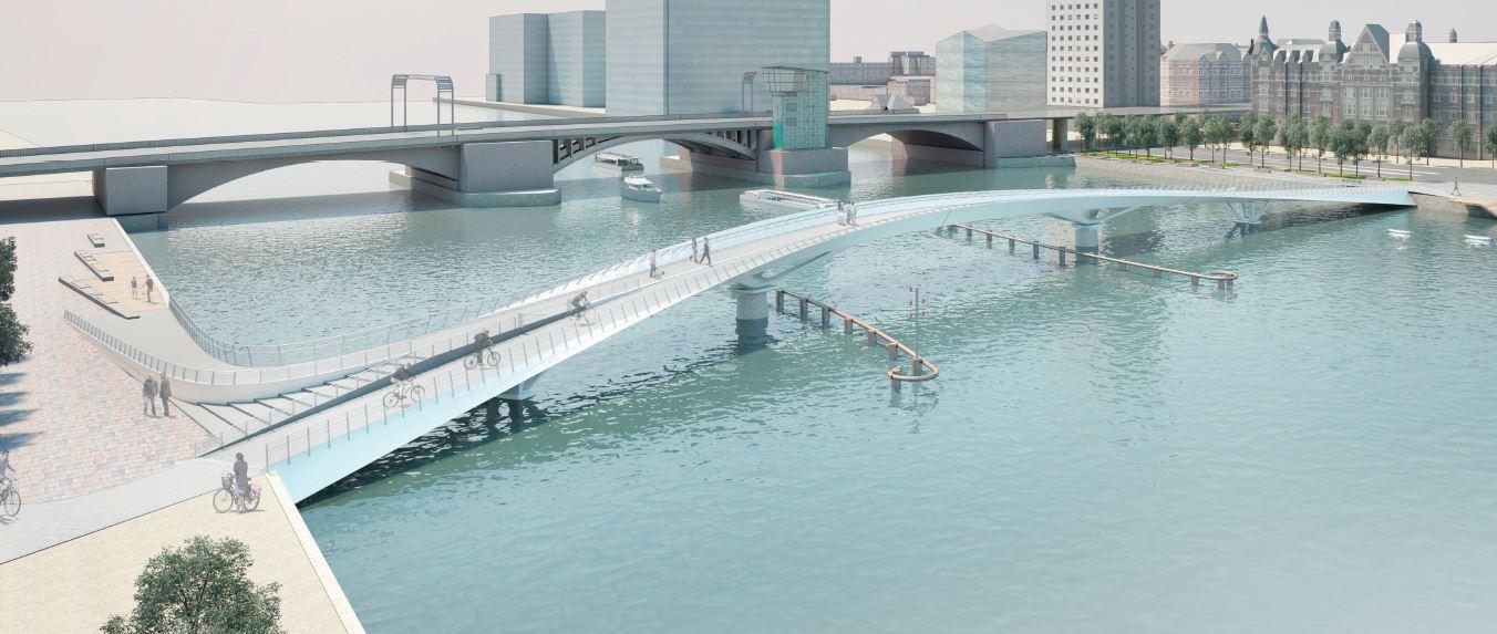Little Langebro cycle and pedestrian double swing bridge in Copenhagen